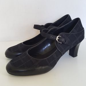 Etienne Aigner Black Leather Heeled Mary Jane
